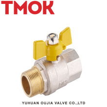 High quality butterfly handle Nickel plating brass gas valve m/f